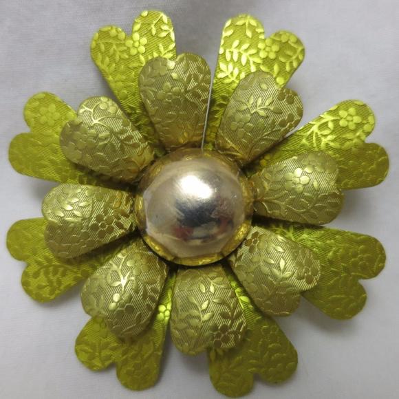 98e633384 Vintage Jewelry   Large Metal Green Yellow Flower Brooch Pin   Poshmark
